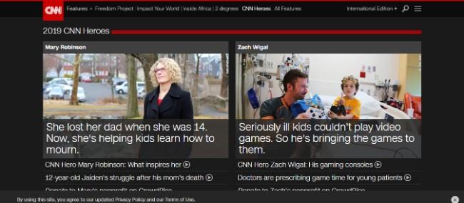 CNN Heroes inspiring website