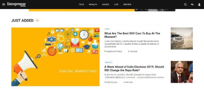 Entrepreneur inspiring website