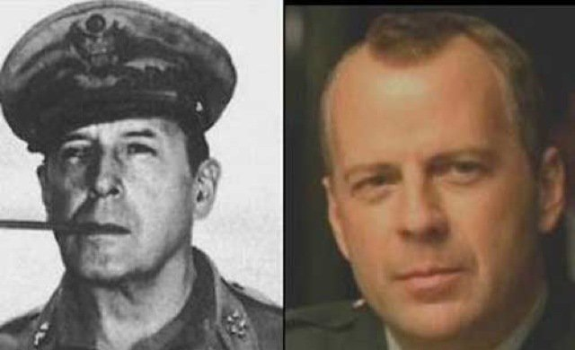 General Douglas MacArthur and Bruce Willis