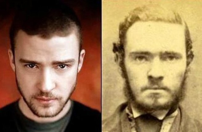 Justin Timberlake and an unknown man in a mug shot.