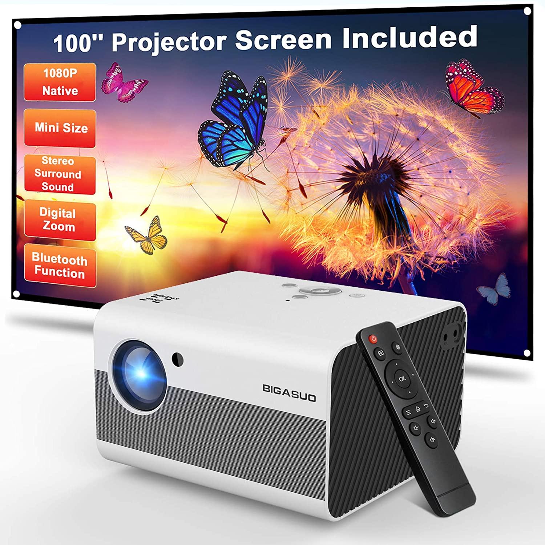 Mini Projector, BIGASUO 2021 Native 1080P Projector