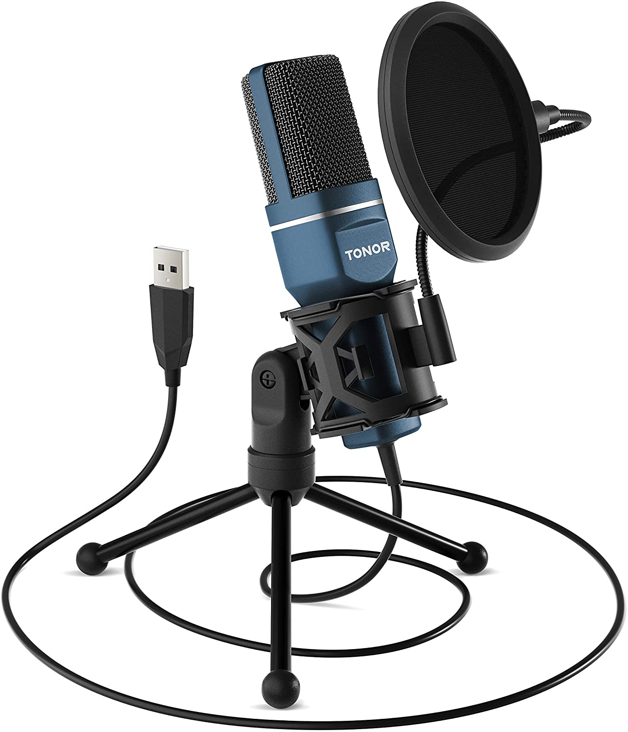 USB Microphone, TONOR Computer Condenser PC Gaming Mic with Tripod Stand & Pop Filter